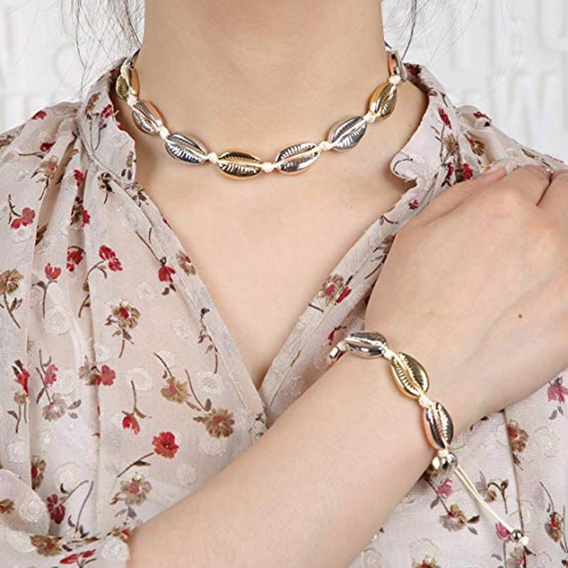 Bohe Bunte Regenbogen Muschel Halskette Weben Einstellbare Halskette Armband Set Sommer Strand Modeschmuck für Frauen Drop Ship