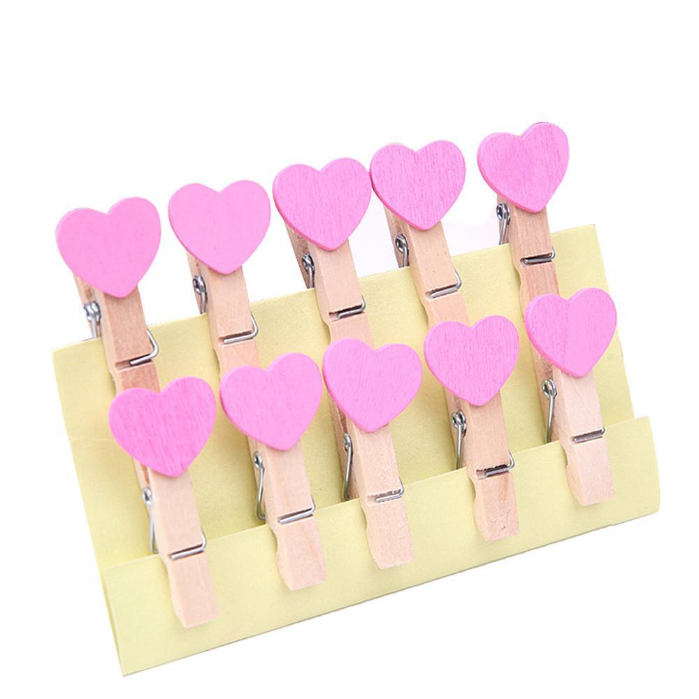 Clips 10pcs mini amor del corazón de ropa de madera Photo Paper Craft clavija Pinza postal Inicio decoración de la boda # 007