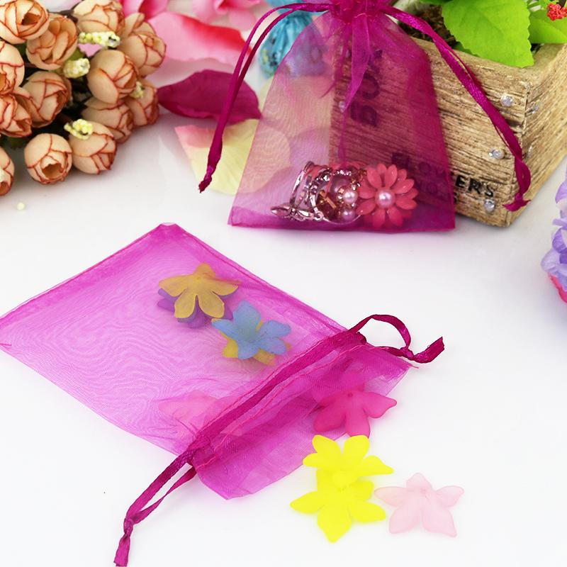 5x7cm 200pcs Drawable Hot Pink Organza Bag Favor Wedding Christmas Gift Bag Mini Charms Jewelry Packaging Bags Pouches Wholesale