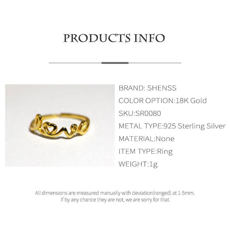 SHENSS Şık Kalite 925 Gümüş Yüzük İçin Kadınlar Sterling-Gümüş-Takı Yüzük SR0080