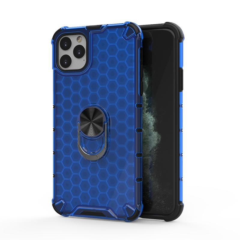 Shockproof Honeycomb Shockproof Phone Case for iPhone 11 Pro Max with Car Holder Ring Armor Impact Clear Phone Cover