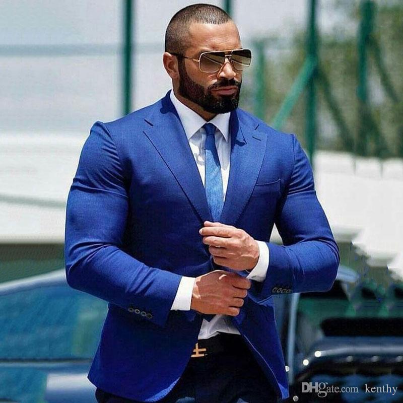 Plus Size ternos azuis Negócios para homens casamento ternos do noivo smoking Homem Vestuário Homem Blazer Jacket Costume Homme 2piece Slim Fit Terno Masculino
