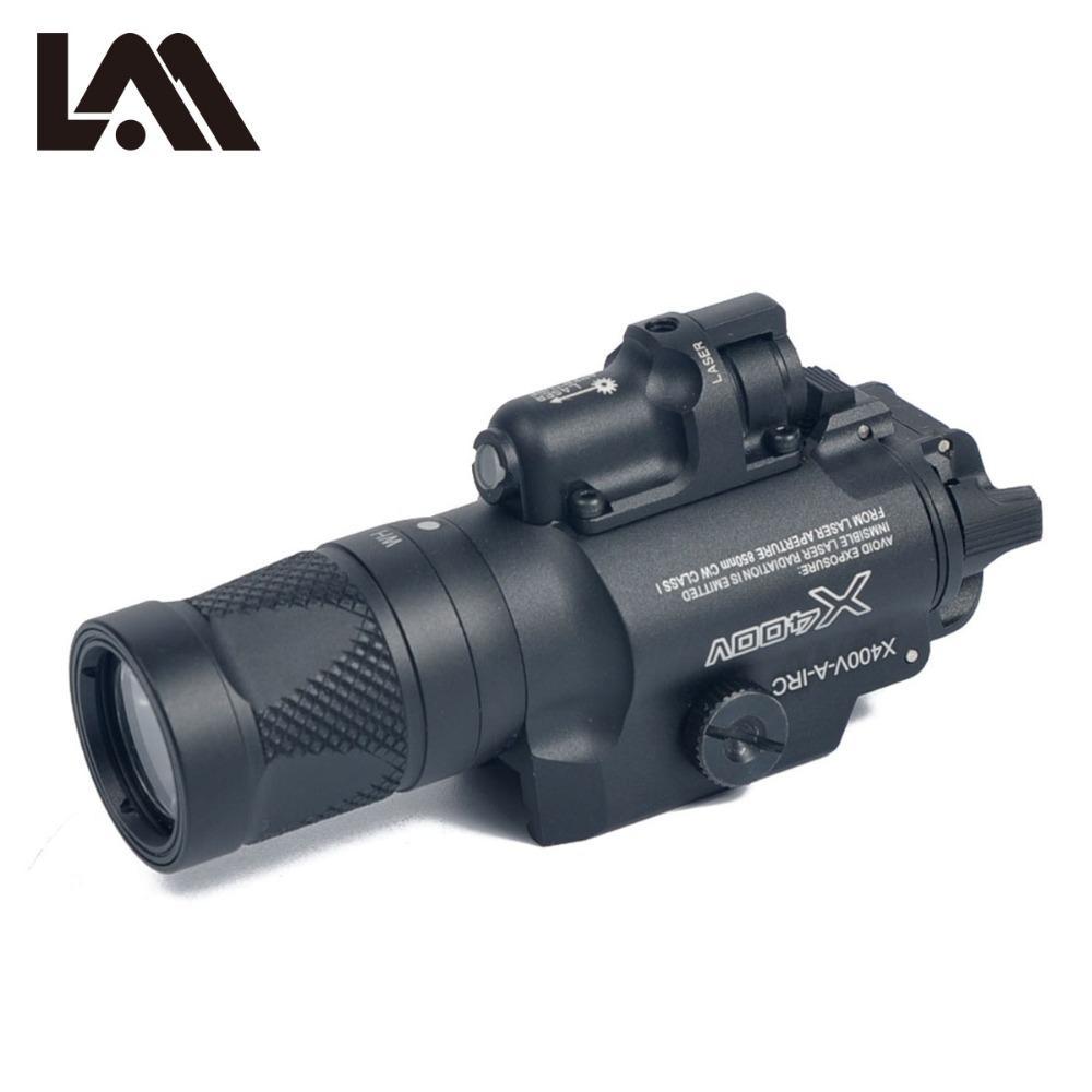 전술 SF X400V LED 총 빛 사냥 손전등 전술 총 빛 LED 화이트 레드 레이저