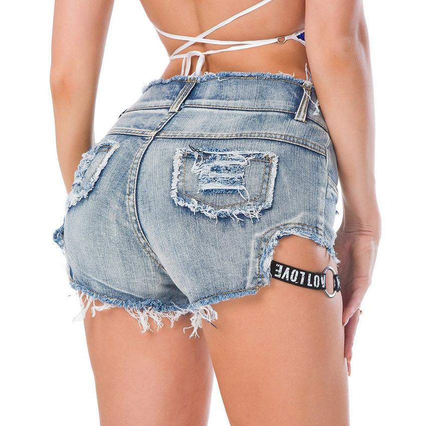 2019 сексуальный повязку Высокая талия женщины джинсовые шорты мини тощий отверстие Жан шорты сексуальный клуб DJ танец шорты