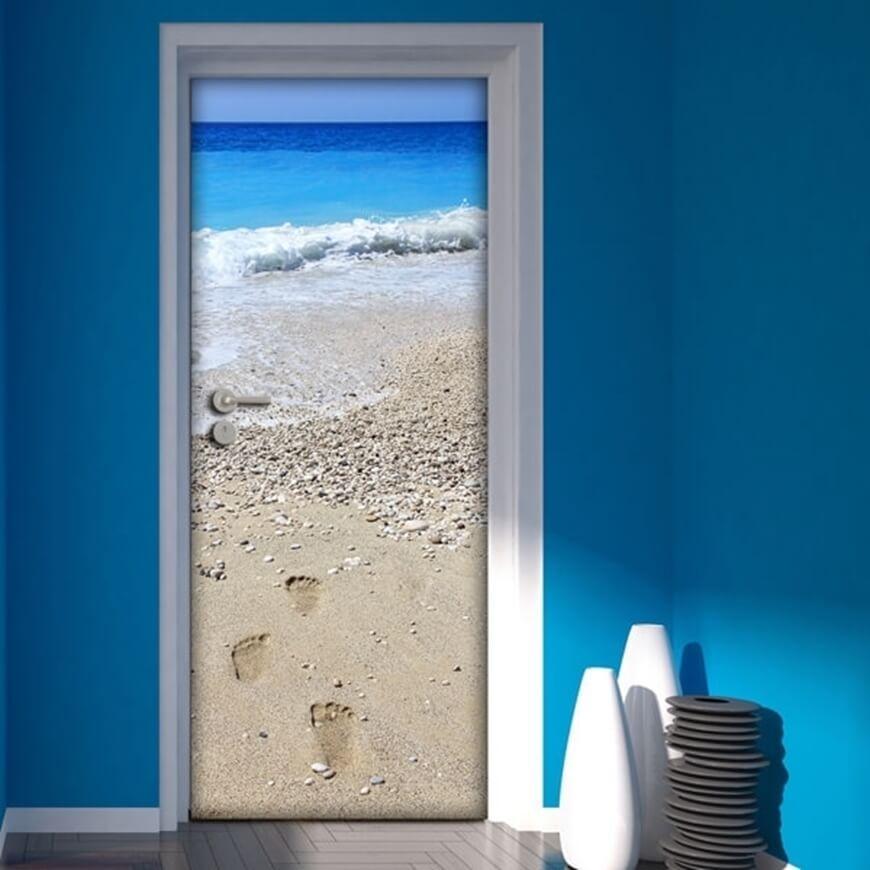 Free Shipping DIY Door Sticker Beach Footprint Door Decals Decorations For Bedroom Living Room Wallpapers Decal Home Accessories