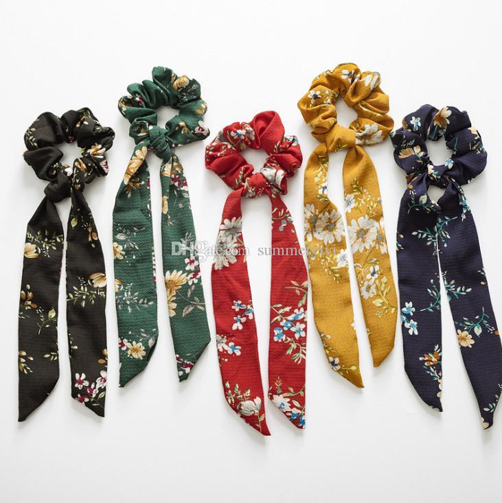 Kızlar Yaylar saç scrunchie bohemya tarzı çocuklar çiçek baskılı elastik saç bandı at kuyruğu tutucu çocuklar dantel-up Fiyonk prenses headdress F5185