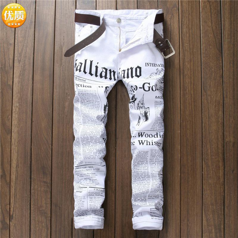 Pop2019 Border For Cool Time Man Bound Feet Pants Tide Male Foreign Trade Letter Newspaper Printing Skinny Jeans White Elastic Force Trouser