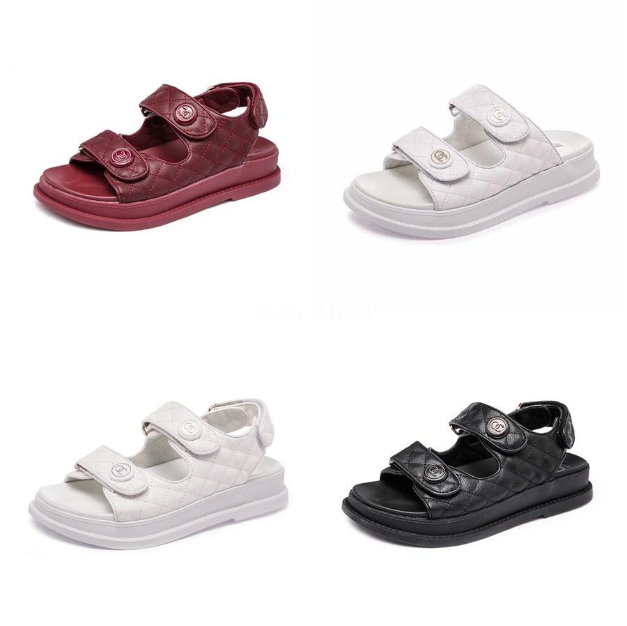 Appartement neuf femmes Chaussures 2020 Été Noir Boucle femme Sandales nouvelle mode à bout ouvert pieds Sandales de correction Plus Size 43 # 972