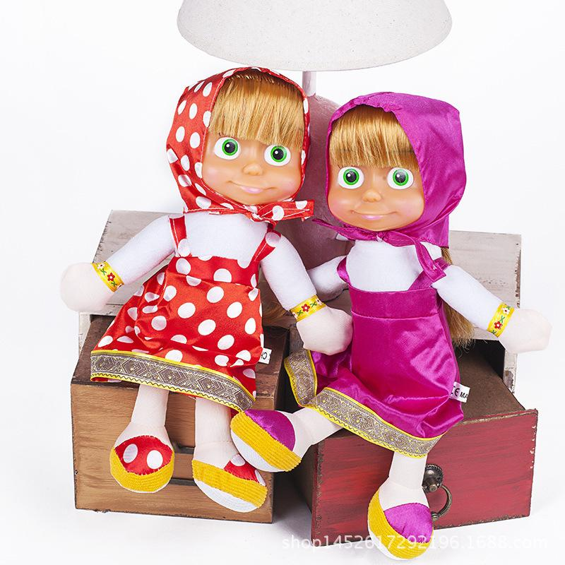 Y Xiongdongkuan Reunión Habla canta Martha Masa Y Masha Teddy Bear Rusia Pelusas Juguetes Barbies Vestidos Chica estadounidense Muñecas rusas de anidación