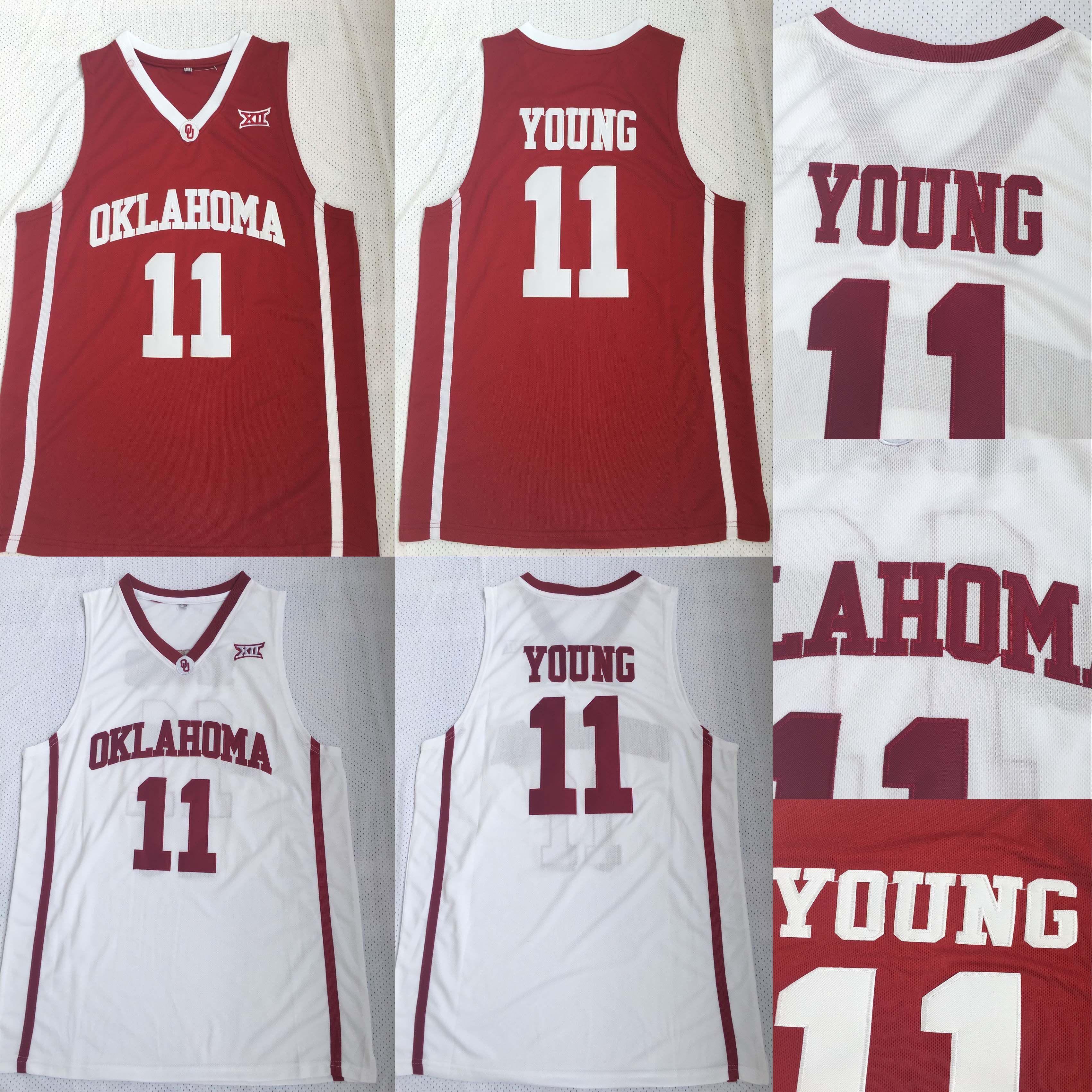 NCAA Trae Jeunes 11 Oklahoma Sooners Université Maillots Basketball Trae Jeune Collège Jersey Vente équipe Couleur Rouge Blanc Sport Uniforme loin