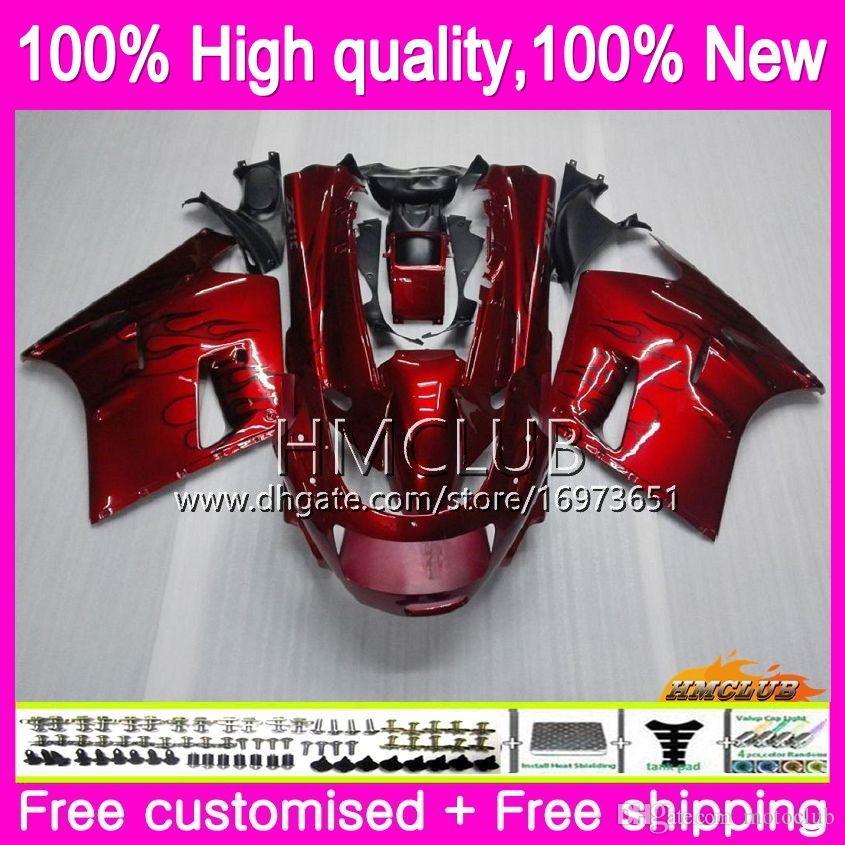 Body For KAWASAKI ZX-11R ZZR 1100 CC ZX11R 93 94 95 96 97 52HM.0 ZZR1100 ZZR-1100 ZX 11R 1993 1994 1995 1996 1997 Fairing kit Glossy red