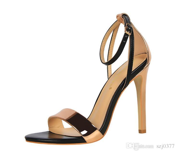 2020 Sommer-reizvolle Frauen-Absatzschuhe öffnen Zehe Einfachheit Stilett Cut-Outs Sandalen Mode Dame Mischfarben-Parteischuhe