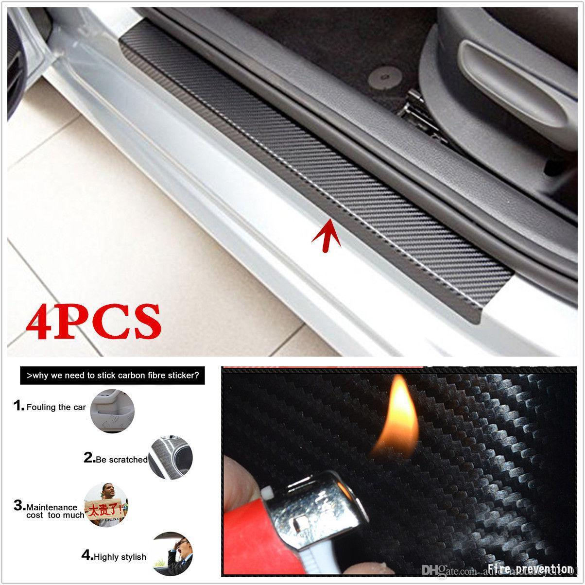 2018 4PCS Car Accessories Door Sill Scuff Welcome Pedal Protect Carbon Fiber Stickers Fast ship way