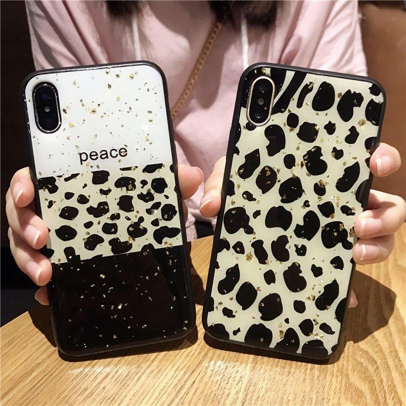 Folha de ouro Bling Casos Exotic de telefone para iPhone 7 6 6S 8 Plus XS Max XR 11 Pro MAX SE2 silicone suave leopardo Amor Tampa Coração