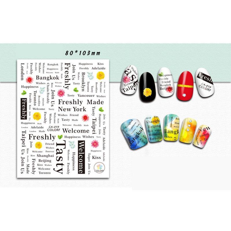 Nagel-Aufkleber- / Text-Maniküre-Aufkleber-Graffiti-Text-Plakat-Text-Mode-Straßen-Art-Maniküre-Aufkleber DIY-Maniküre