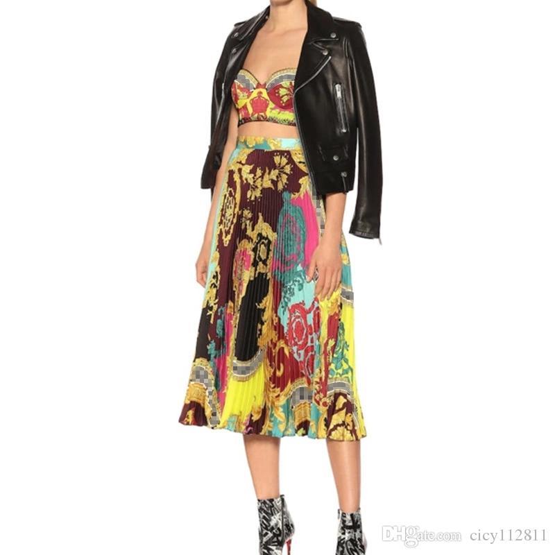 Nouveau style baroque de vacances Camisole + taille haute imprimé costume jupe plissée