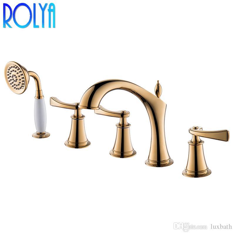 ROLYA 특허 디자인 5 홀 목욕 샤워 믹서 탭 손 샤워 고급스러운 솔리드 황동 로마 욕조 트림 필러
