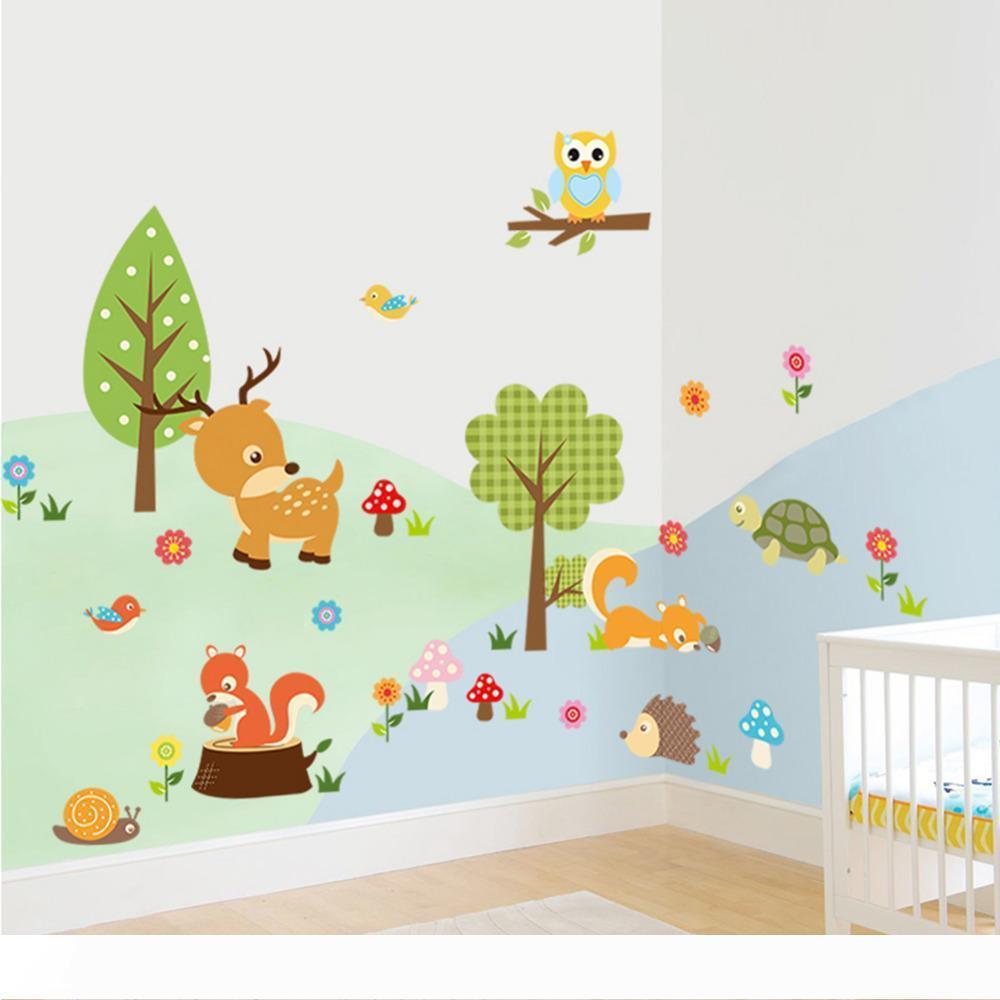 귀여운 동물 벽 스티커 동물원 호랑이 올빼미 거북이 나무 숲 비닐 아트 벽 견적 스티커 다채로운 PVC 데칼 장식 아이 베이비 룸