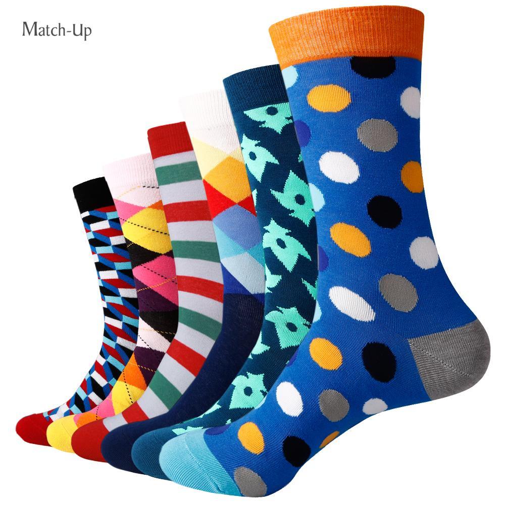 Novos estilos Felizes meias Colorido Colorido Algodão Meias de Algodão de Casamento Peúgas (6Pairs / Lot)