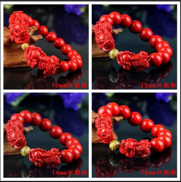 China rojo 8-16mm cuentas talladas Pixiu pulsera elástica natural rojo orgánico cinabrio moda hombres y mujeres suerte amuleto regalo