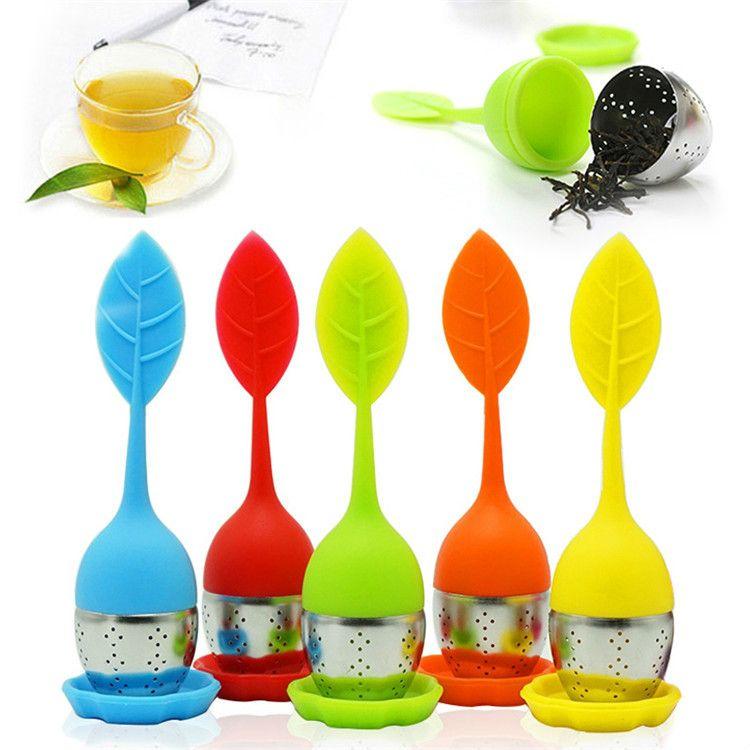 5 couleurs en forme de feuille de silicone Thé Infuser Passoire Thé en vrac Feuille à base de plantes Spice Filtre pour Théiere Accessoires Drinking