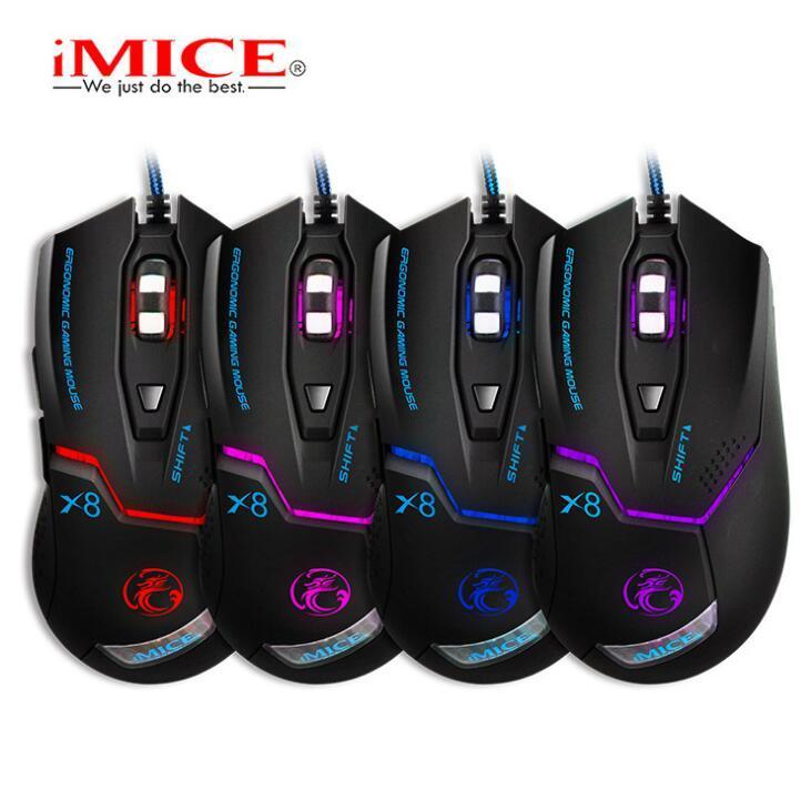 원래 iMice의 X8 마우스를 유선 게임 전문 3200dpi USB 광 마우스 6 개 버튼 컴퓨터 게이머 마우스 PC 노트북