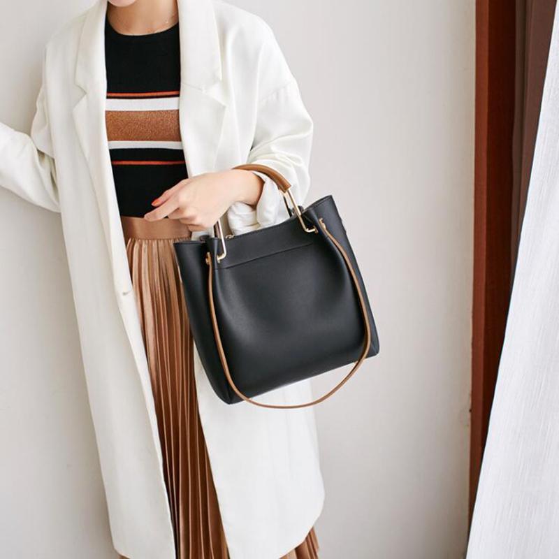 Women Bucket Bag Handbag Fashion Simple Large Capacity Casual Shoulder Bag Luxury Crossbody Female