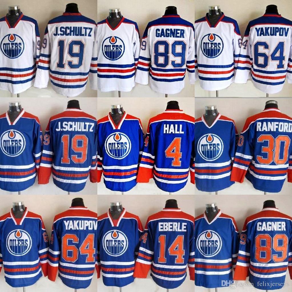 big sale fd4ab c632f 2019 Edmonton Oilers Jersey 4 Taylor Hall 14 Eberle 89 Sam Gagner 30 Bill  Ranford 64 Nail Yakupov 19 J.Schultz Hockey Jerseys Cheap From  Felixjerseys, ...