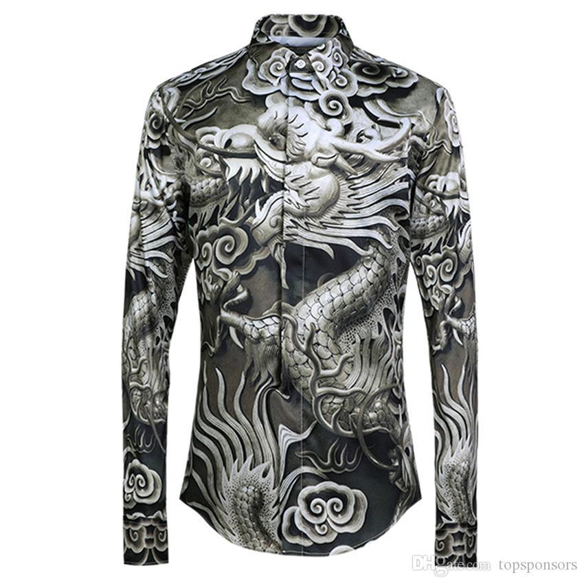 Роскошные Мужские Рубашки Новый Дракон Pattern Allover Печати Рубашки Мужские С Длинным Рукавом Высокое Качество Оригинальные Мужские Рубашки Повседневная Slim Fit