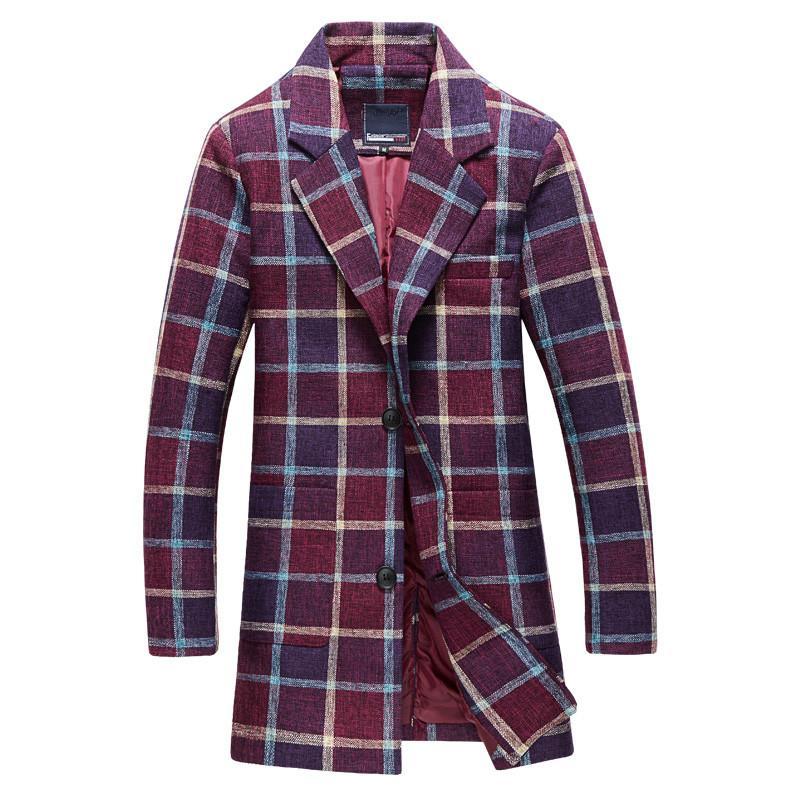Winter New Arrival Men's Fashion Leisure Long Grid Trench Coat The Man's Jacket Windbreaker Blazer Trench Coats
