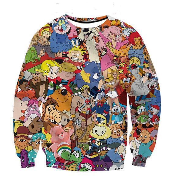 2020 Newest Fashion Unisex Sweatshirt cartoons collage 80s Funny 3D Print Crewneck Sweatshirt Mens Women Style Pullovers WY015