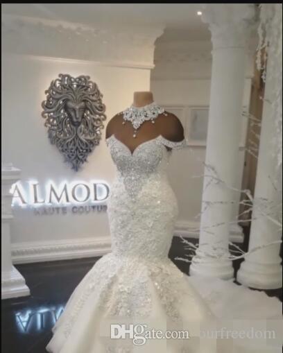Custom Made Luxo Dubai Árabe Sereia Vestidos de Noiva Plus Size Beading Cristais Tribunal Trem Vestido de Noiva Vestidos de Noiva