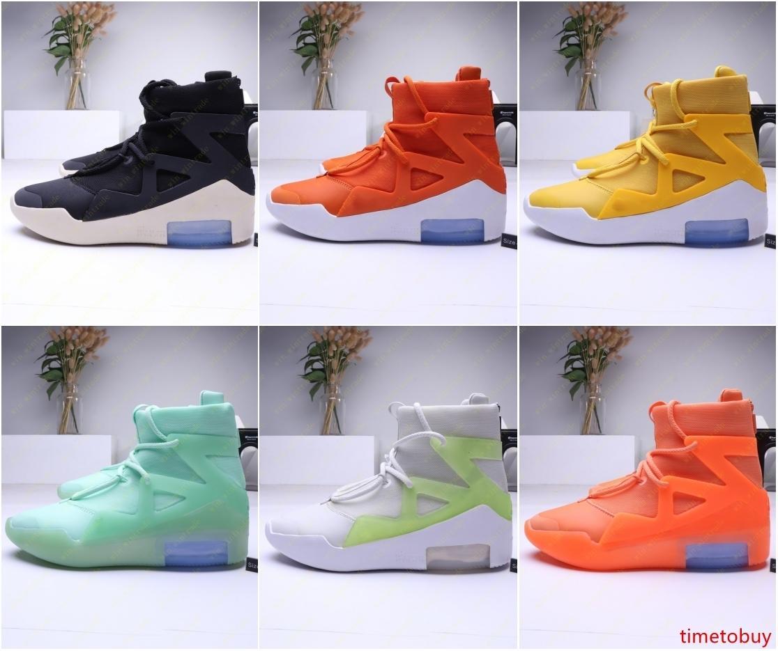 Mens 2019 Fear Of God 1 Luz Bone Negro Diseñador zapatillas de deporte de moda Niebla Cojín Botas Deportes zoom Calzado casual 40-45