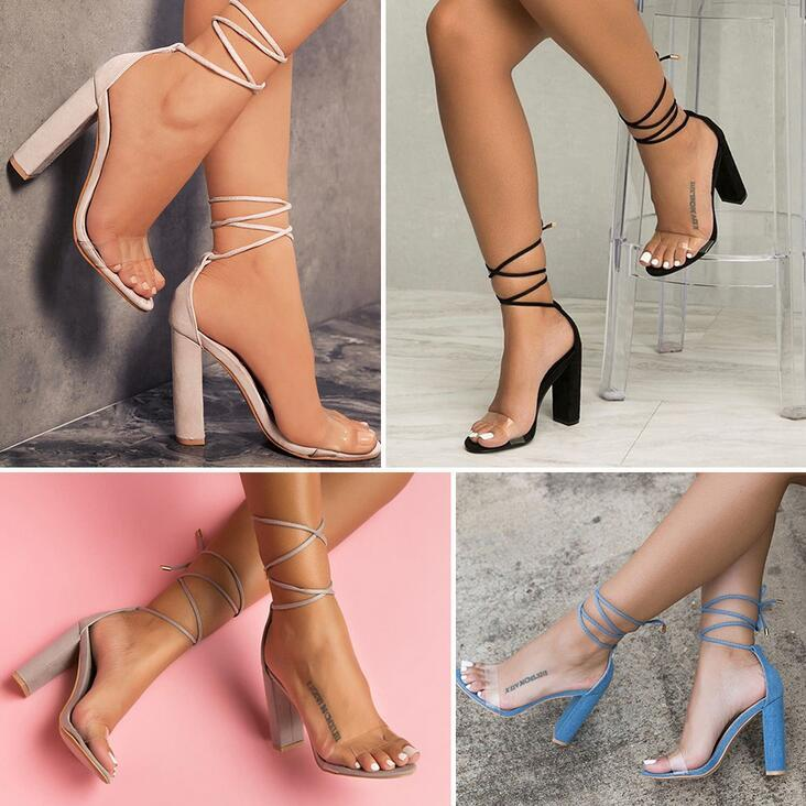Women's Summer Shoes Transparency High Heels Rope Lace Up Block Ankle Strap Chunky Fashion Sandals