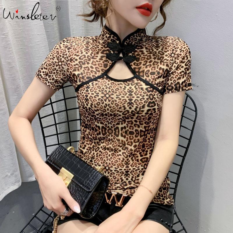 Летняя мода корейской одежды футболки Sexy выдалбливают этническом стиле Stand сетки Женщины Топы Ropa Mujer Короткие рукава Тис Новый T06501