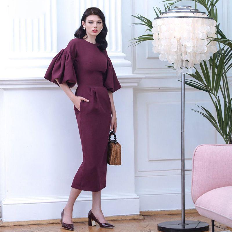 Womens Dresses Designer Dress 2019 Autumn Long Dress Women Puff Sleeve Female Elegant Pink Red Lady Office Bodycon Long Vestido