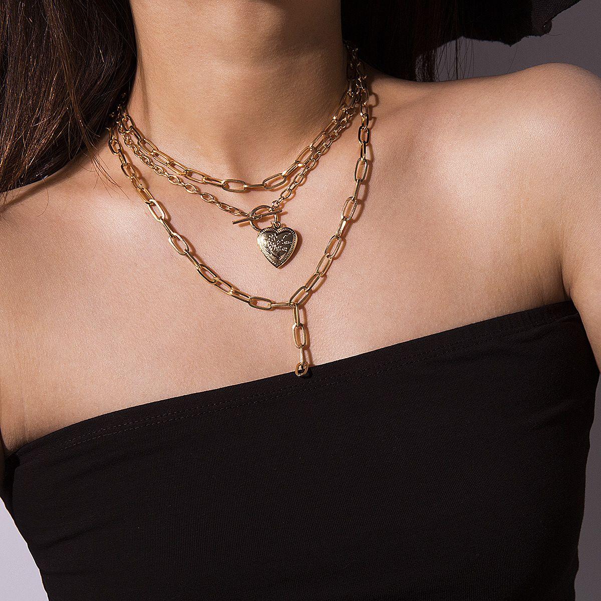 Joyería de moda creativa geométrica gruesa cadena borla collar Mujer openned del corazón del melocotón OT botón se mezclaron con el collar de los elementos