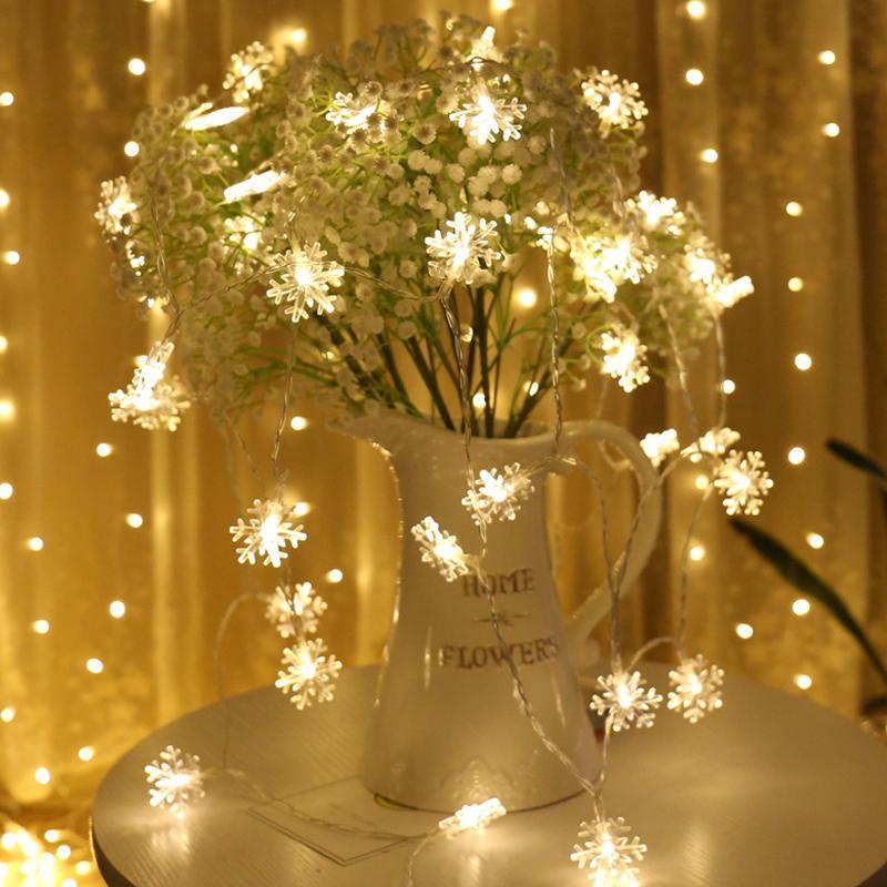 Partido 6M 40Leds USB del árbol de navidad Copos de Nieve Led Tira Hilo de Luz de Navidad Inicio boda del jardín Garland decoraciones de Navidad