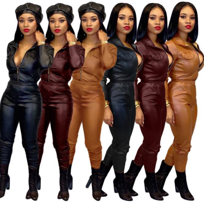 Conjunto de cuero de las mujeres ocasionales del cuero Cardigan Deportes Conjunto de PU delgada de las mujeres de dos piezas señora Tops y Blusas desgaste del salón
