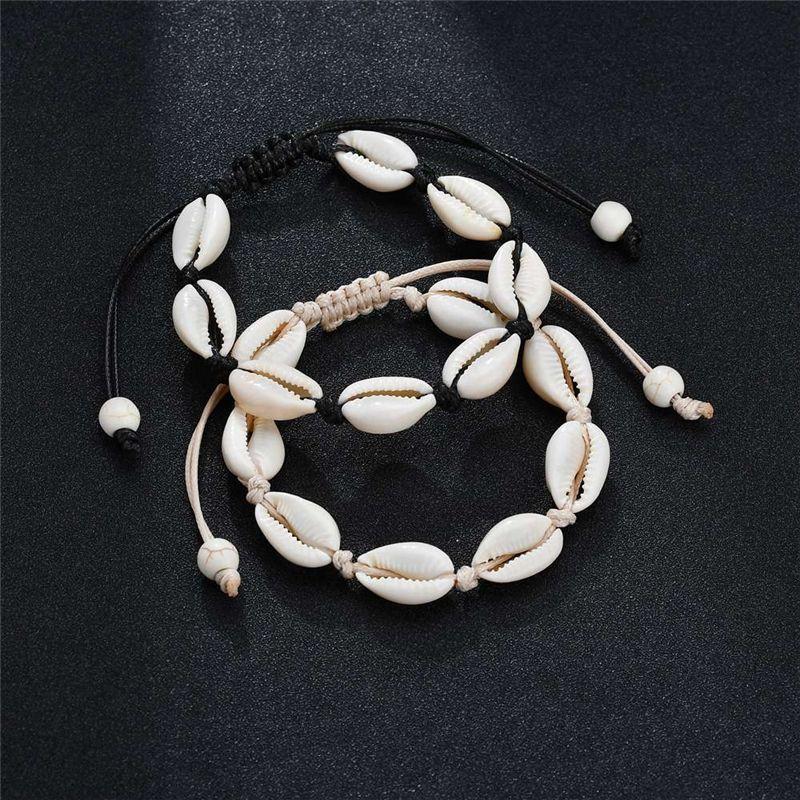 Handmade Shell Браслеты Природного Seashell ручной вязка Регулируемые браслеты Веревки для женщин Девочки Аксессуары из бисера Strand Пляж ювелирных изделий Шарма