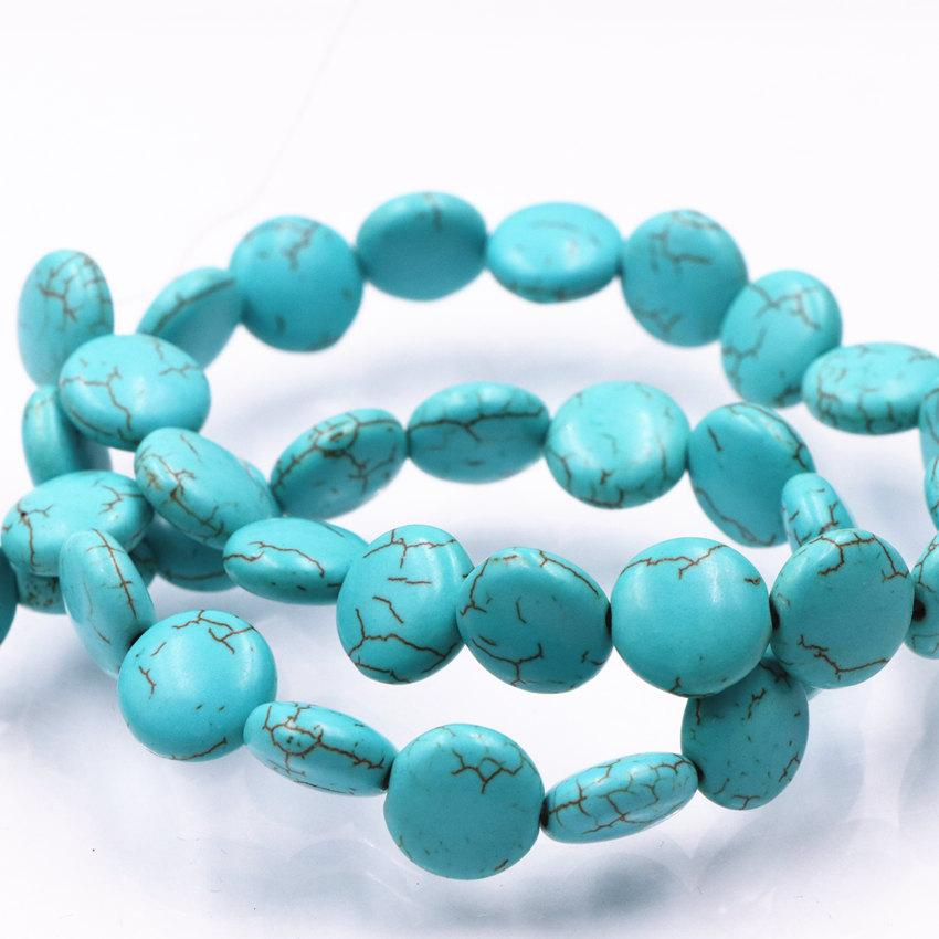 """2 Strands Wholesale Coin Veins Turkey Turquoises Calaite Stone Loose Beads for Jewelry Making 12 14mm Spacer Round Cake 16"""" A585"""