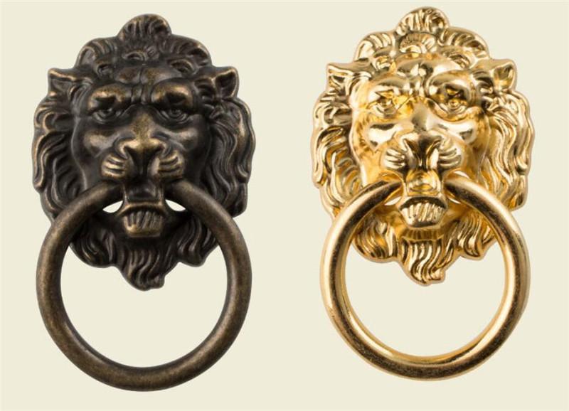 66 * 40mm Maniglie per mobili Bestia per Maniglia della testa del leone d'antiquariato della lega del cassetto del guardaroba Door Pull Retro decorazioni 1PCS Con viti