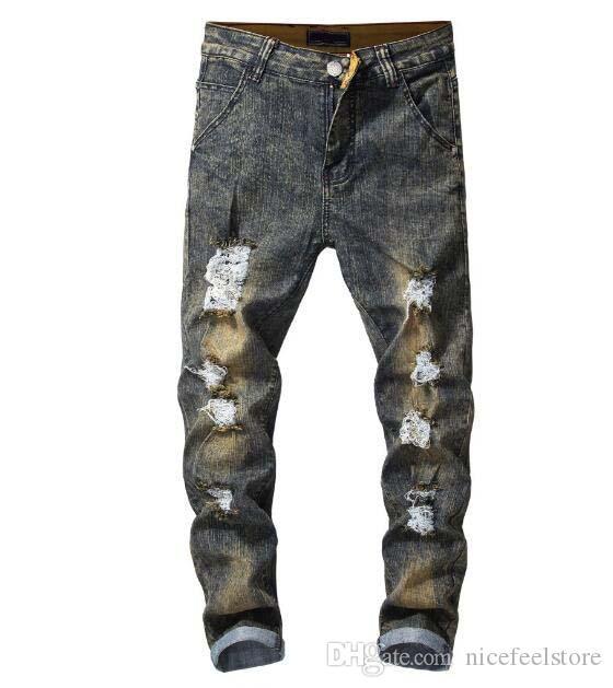 2019 nouvelle arrivée! Le commerce extérieur nouveau pantalons pour hommes fée mercerisé personnalité rétro trou cassé un jean slim