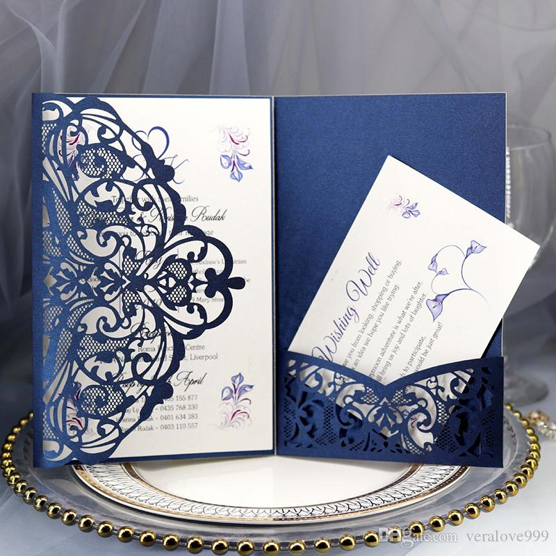 2019 Navy Blue Laser Cut Pocket Wedding Invitation Suites Customizable Invites With Envelope Blank Inner Free Shipping
