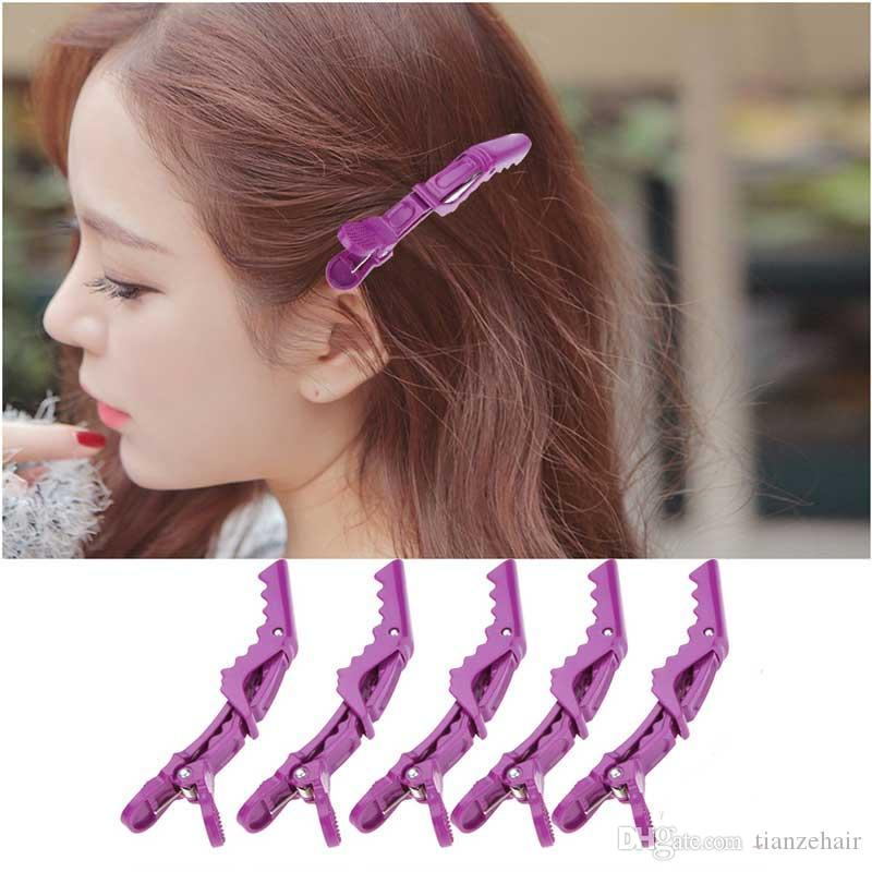 5pcs Matte Sectioning Clips Clamps Hairdressing Salon Hair Grip Crocodile Professional Hairdressing Hair Style Purple Barbers Clips