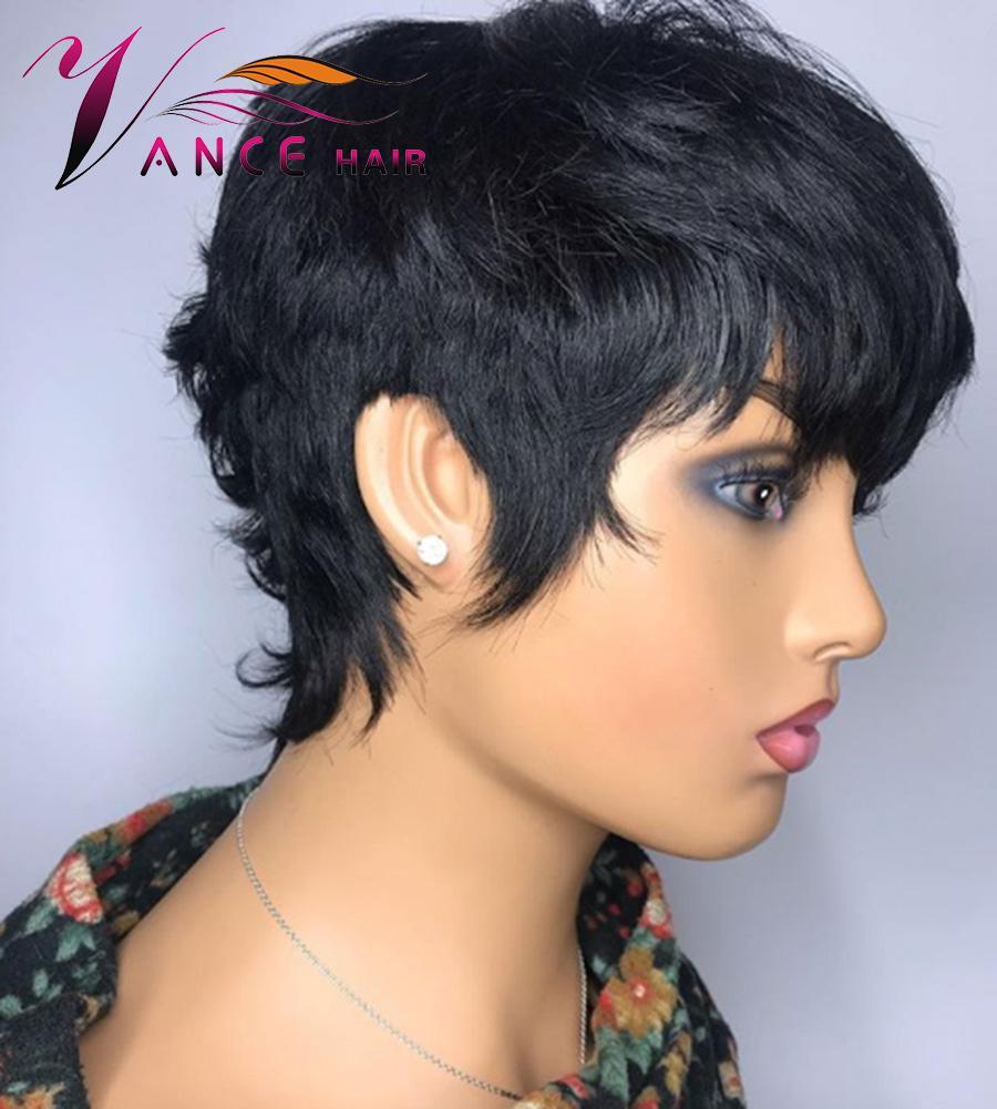 vancehair آلة كامل شعر مستعار 150٪ كثافة الشعر القصير الإنسان الجني قص الطبقات الباروكات البرازيلي ريمي الشعر للنساء