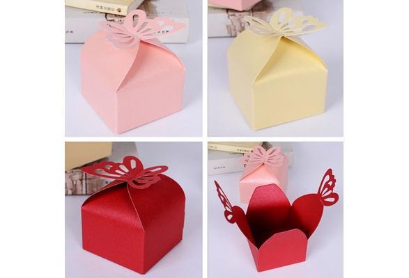Großhandel DIY 100 STÜCKE Laser Cut Schmetterling Geschenkboxen Falten Candy Box Baby Shower Geburtstag Hochzeit Gefälligkeiten