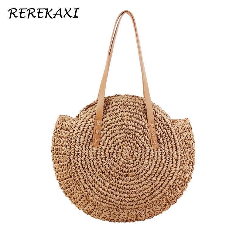 Rerekaxi Hand-woven Round Woman's Shoulder Bag Handbag Bohemian Summer Straw Beach Bag Travel Shopping Female Tote Wicker Bags Y190702
