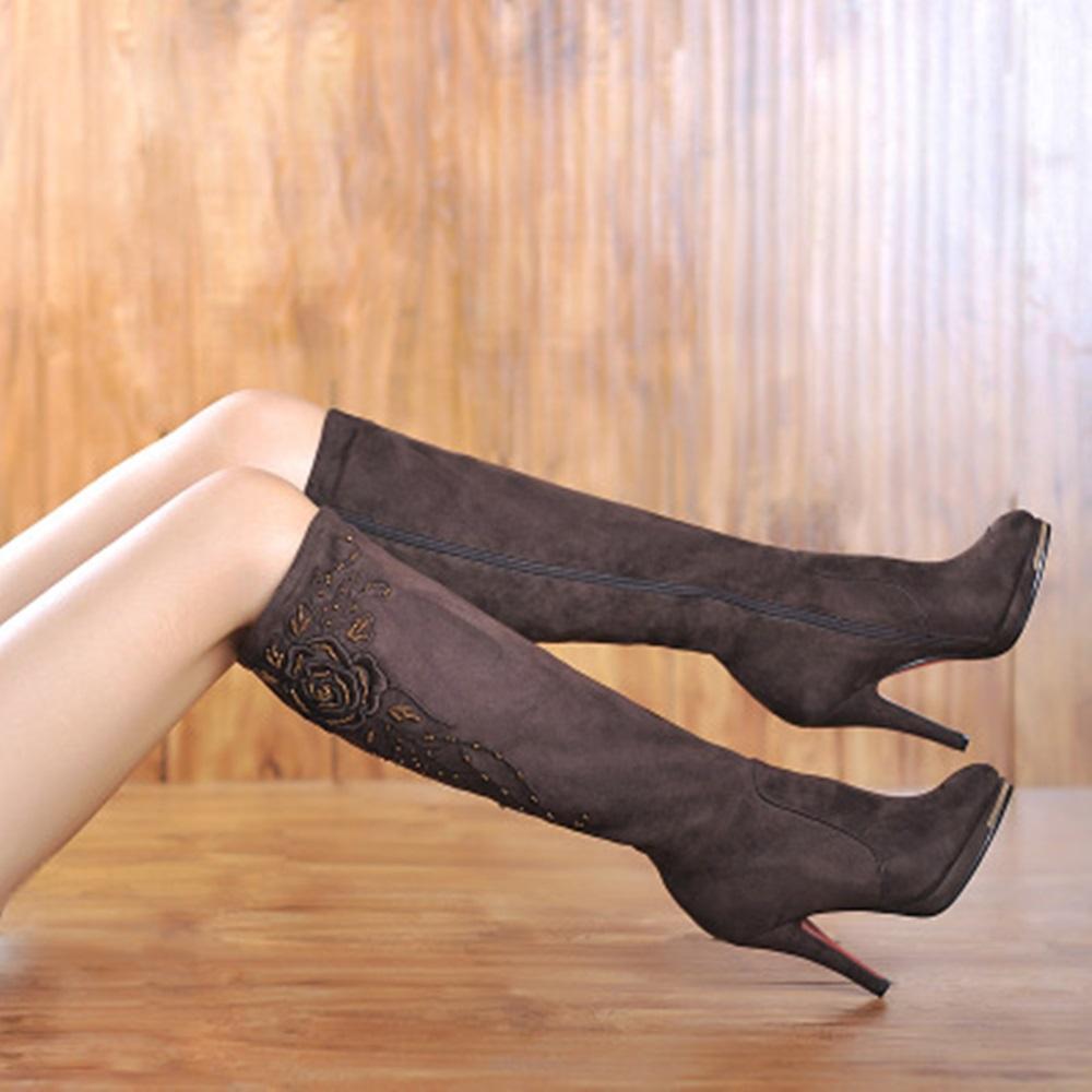 MORAZORA Artı boyutu 34-44 Klasik moda sürüsü nubuk deri diz yüksek çizmeler kadınlar kış kar yüksek topuklu platformu bot ayakkabı