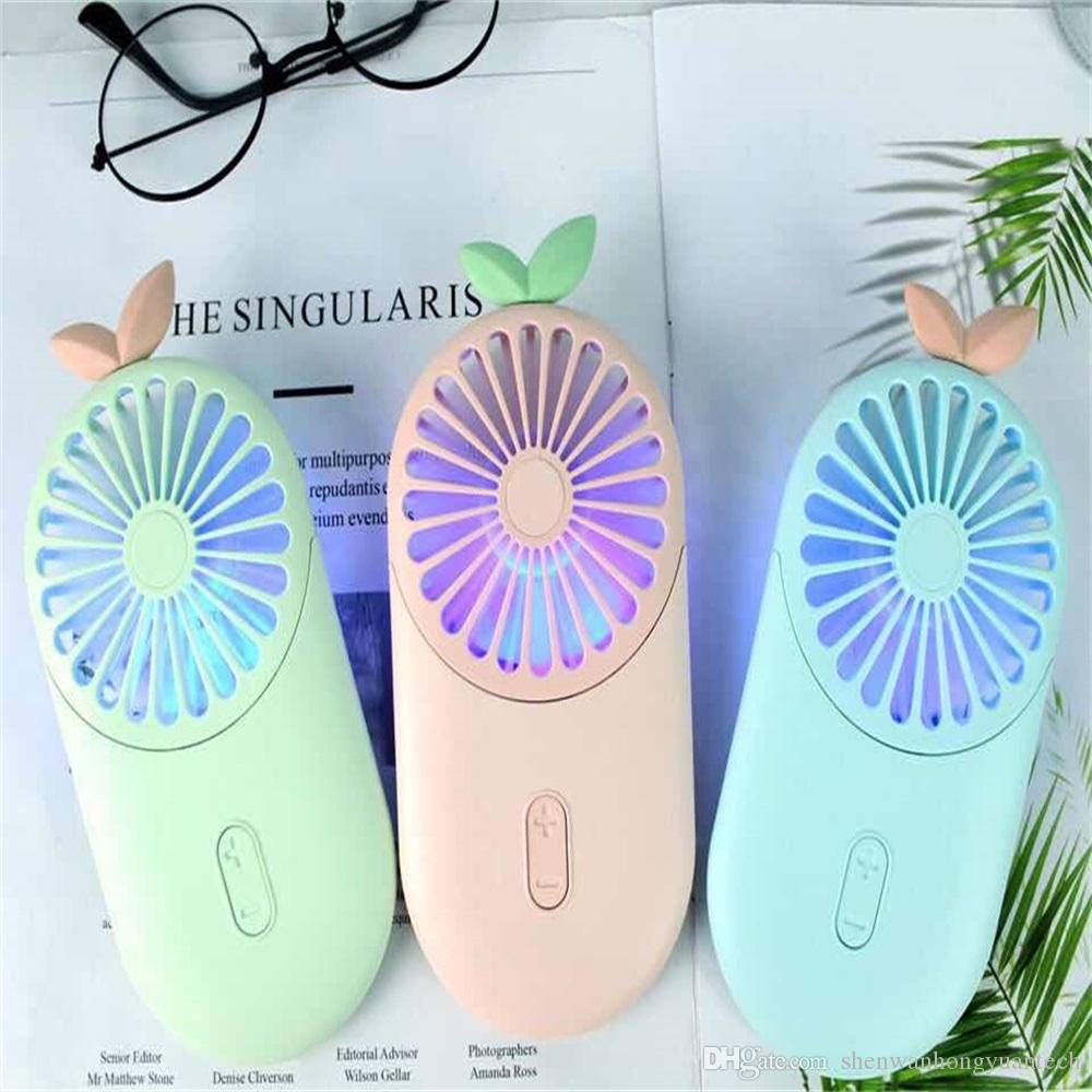 Baby Leaf Bee Portable With 7 Colors LED Portable Ultra-Slim Mini Charging Fan 4W Handy Quite USB Fans Night Light Office Outdoor DHL Free